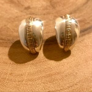 Givenchy • VTG Silver & Gold Tone Clip-On Earrings